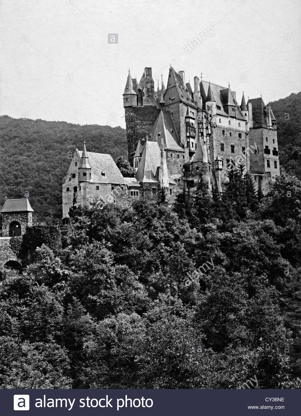 Schloss Eltz is a preserved medieval castle of the Rhine Valley. - Stock Image