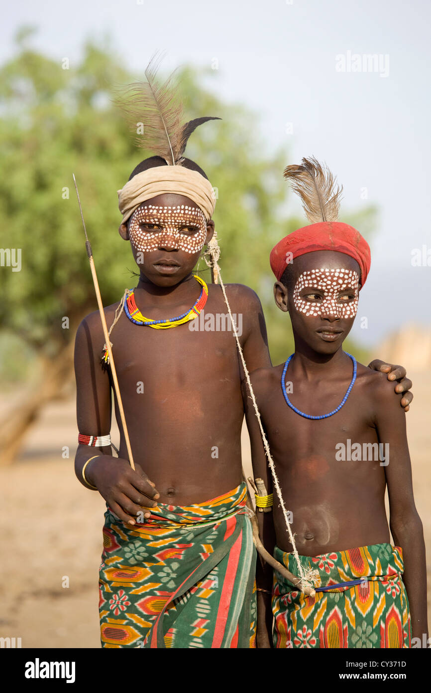 Young children of the Erbore tribe, Omo River Valley, Ethiopia - Stock Image