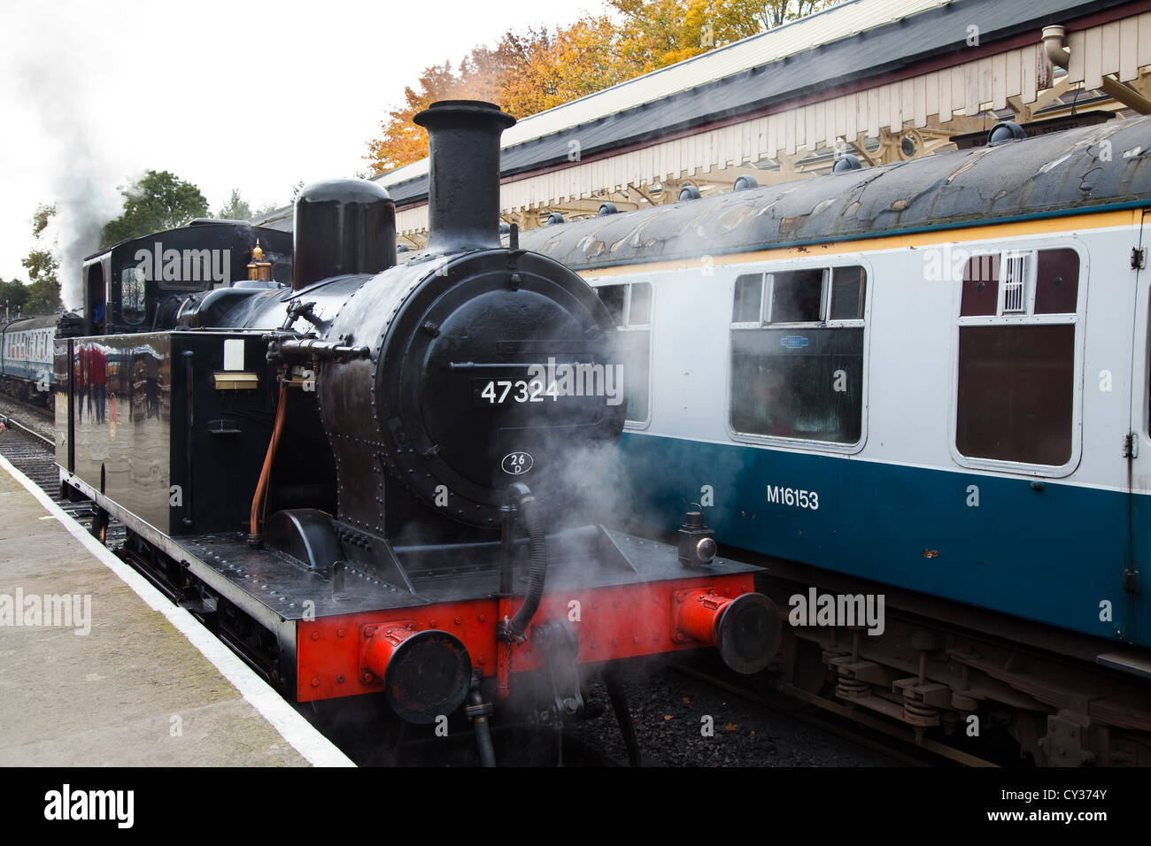 LMS Class 3F 'Jinty', 47324 Shunting engine at Ramsbottom Station, lancashire, UK Stock Photo