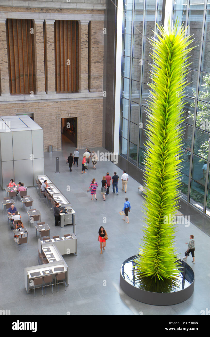 Boston Massachusetts Huntington Avenue Museum of Fine Arts New American Cafe restaurant courtyard Chihuly Glass - Stock Image