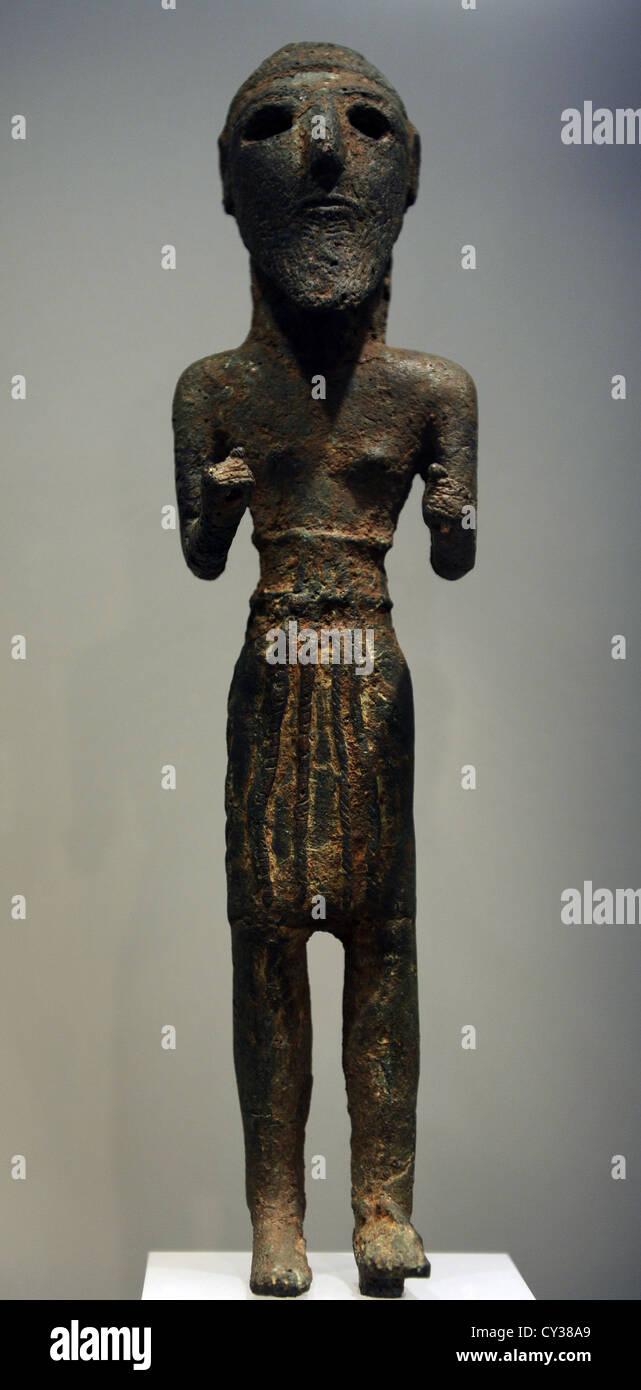 Votive statuette. Middle East. 6000-1200 BC. Ny Carlsberg Glyptotek Museum. Copenhagen. Denmark. - Stock Image