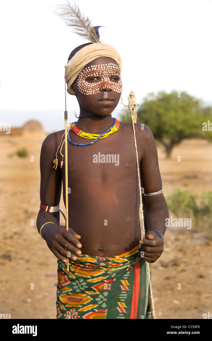 Young boy of the Erbore tribe, Omo River Valley, Ethiopia - Stock Image