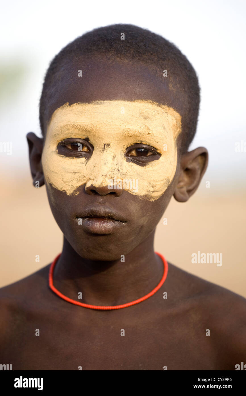 Karo boy, Omo River Valley, Ethiopia - Stock Image