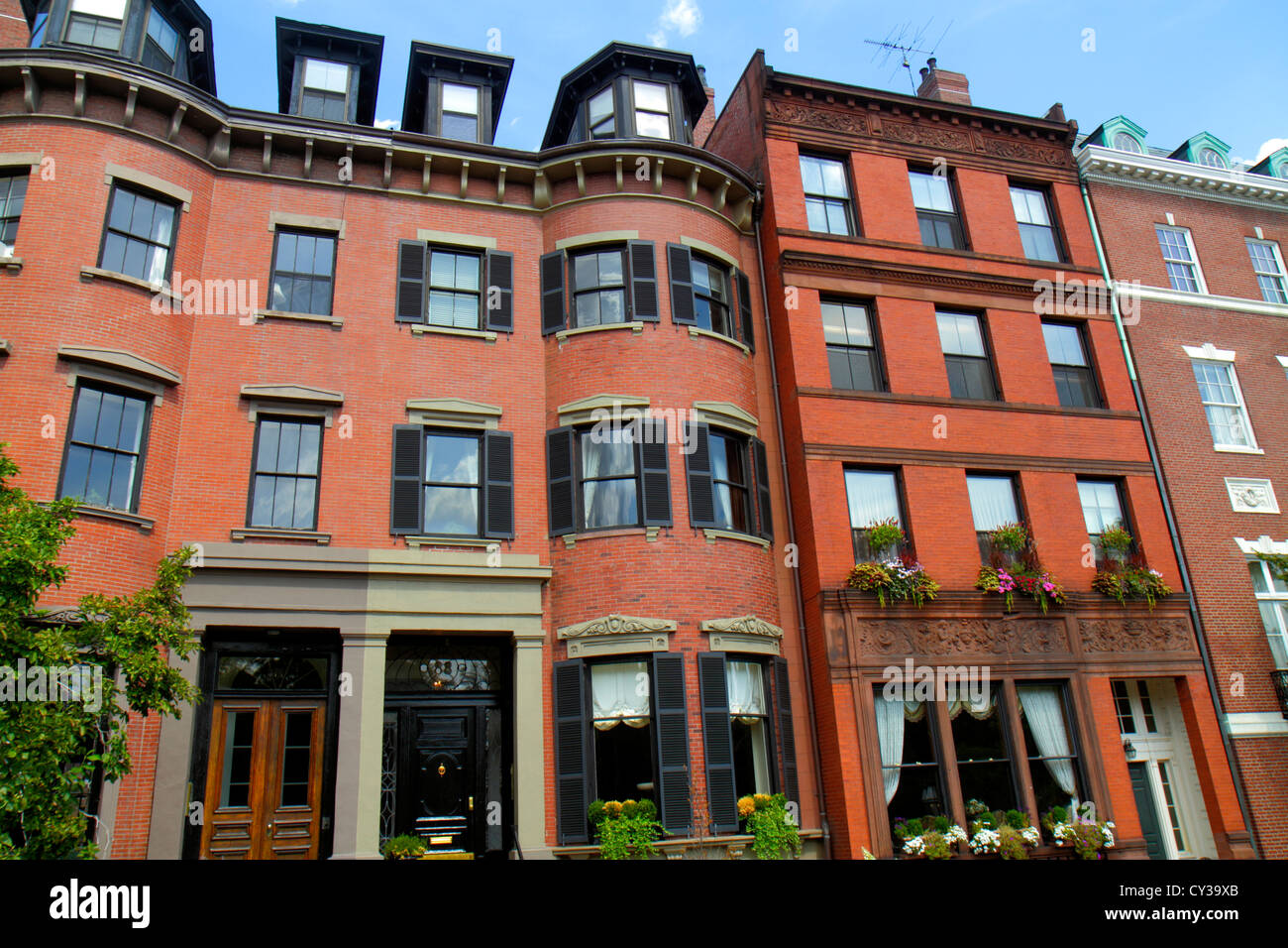 Boston Massachusetts Back Bay townhouses apartments red ...