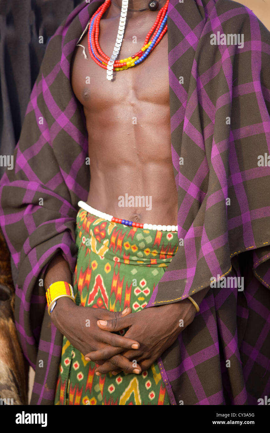 Man of the Erbore tribe, Omo River Valley, Ethiopia - Stock Image
