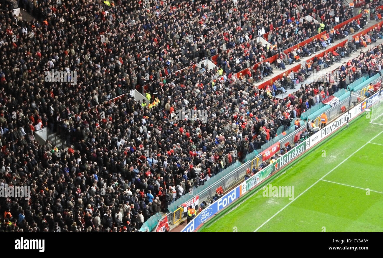 Crowd at Manchester united football match football stadium The old trafford. UK, Great Britain. - Stock Image