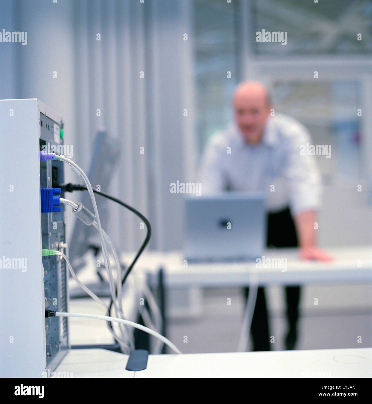 business people data center control center man License free except ads and outdoor billboards - Stock Image