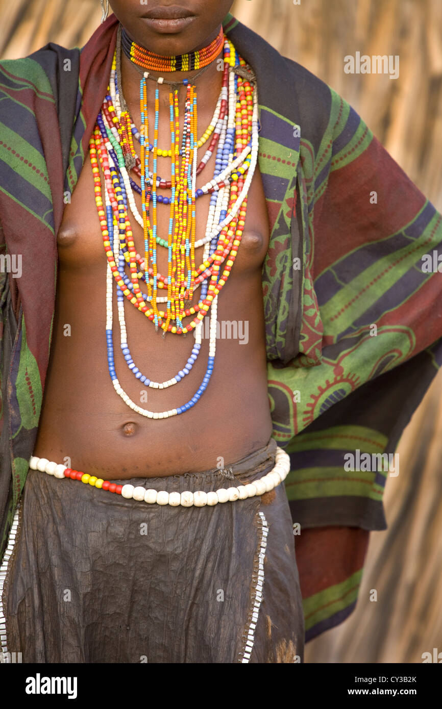 Girl of the Erbore tribe, Omo River Valley, Ethiopia - Stock Image
