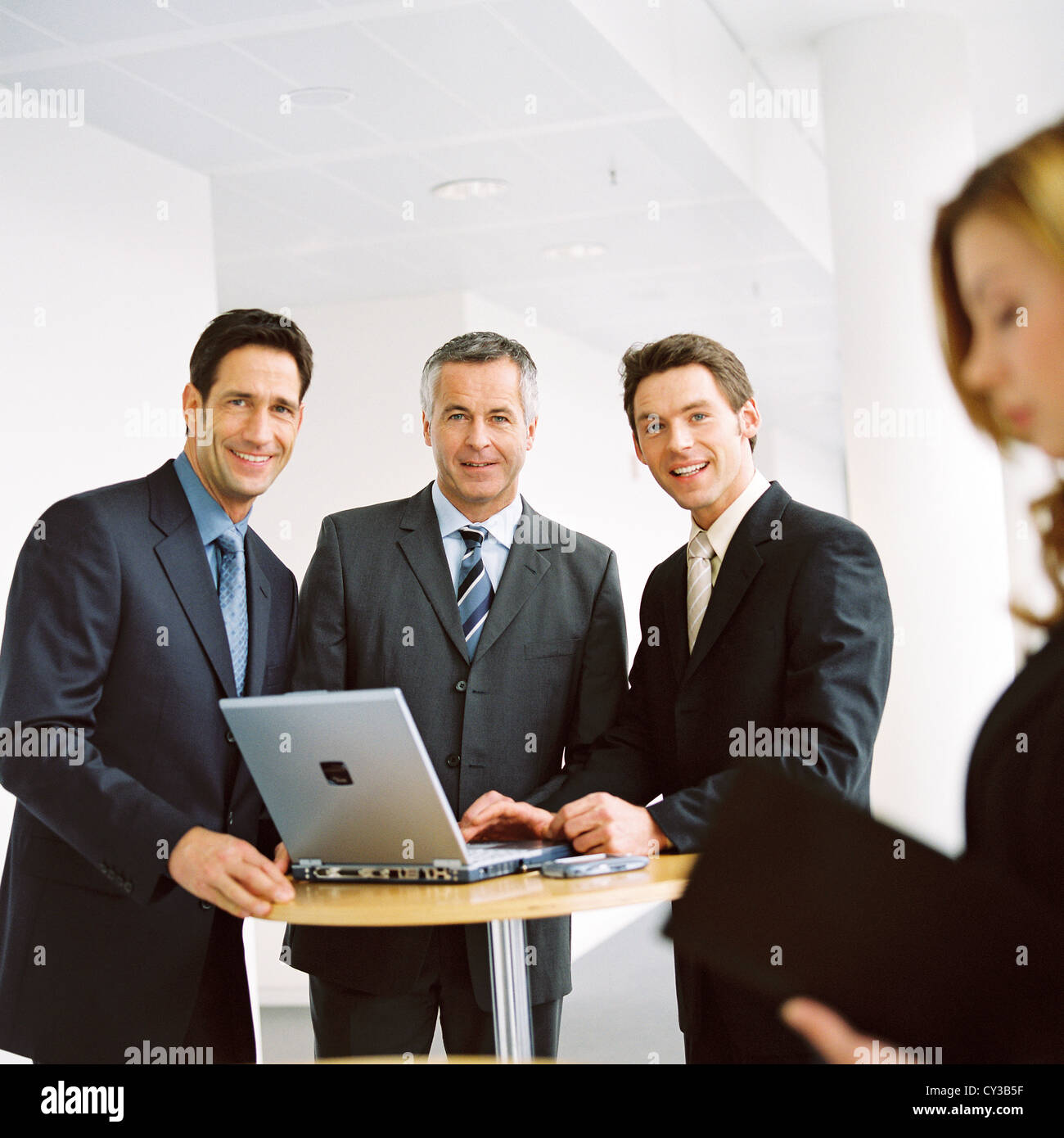 business group people with laptop License free except ads and outdoor billboards - Stock Image