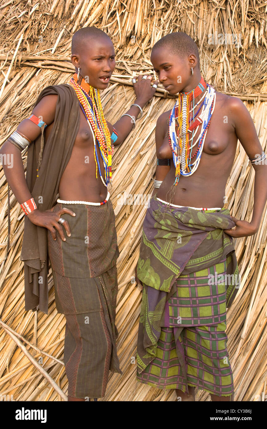 Girls of the Erbore tribe, Omo River Valley, Ethiopia Stock Photo