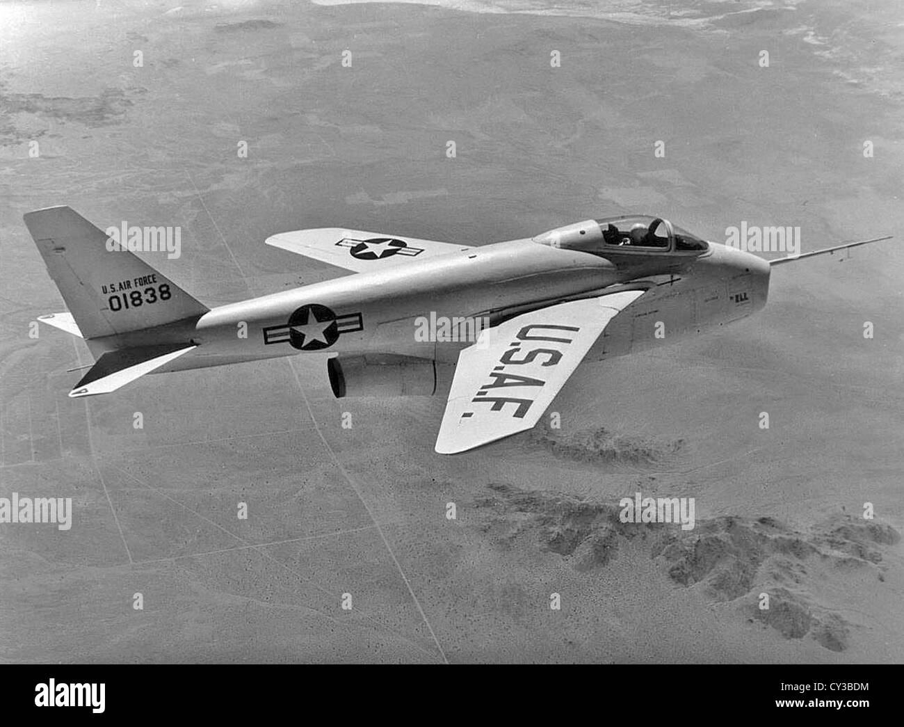 This NACA High-Speed Flight Research Station photograph of the X-5 was taken at Edwards Air Force Base in the mid - Stock Image