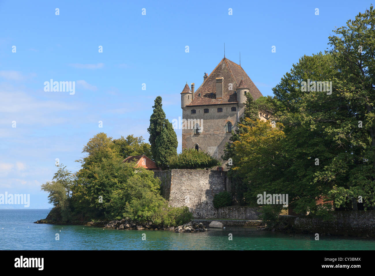 The castle in Yvoire on the French bank of Lake Geneva or Lac Leman - Stock Image