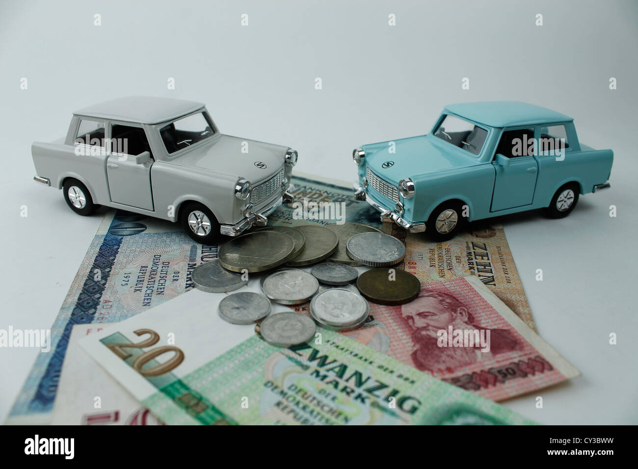 Old cars from the Former East Germany displayed on East German Money ...