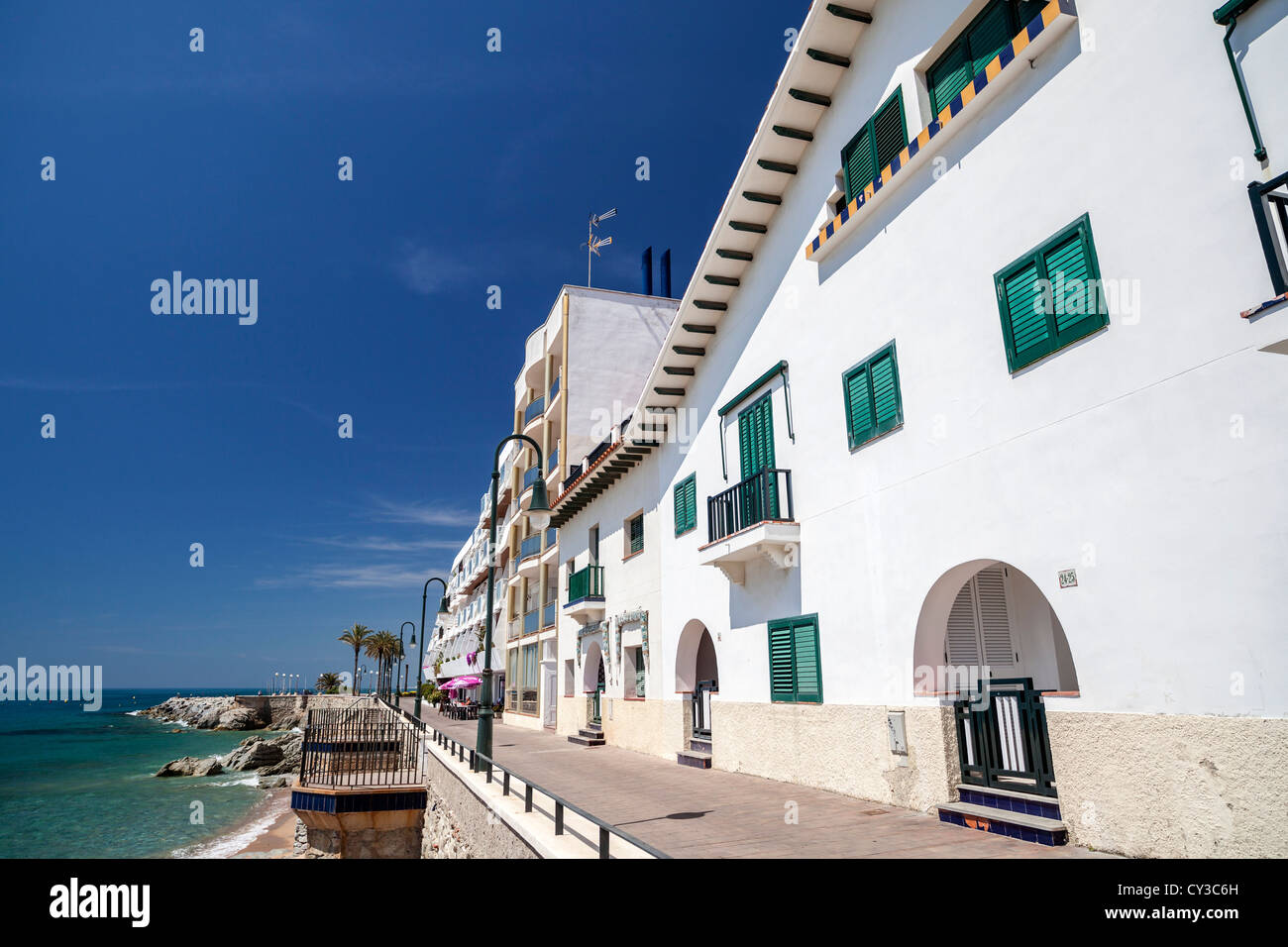 sant pol de mar,catalonia,spain.promenade. - Stock Image