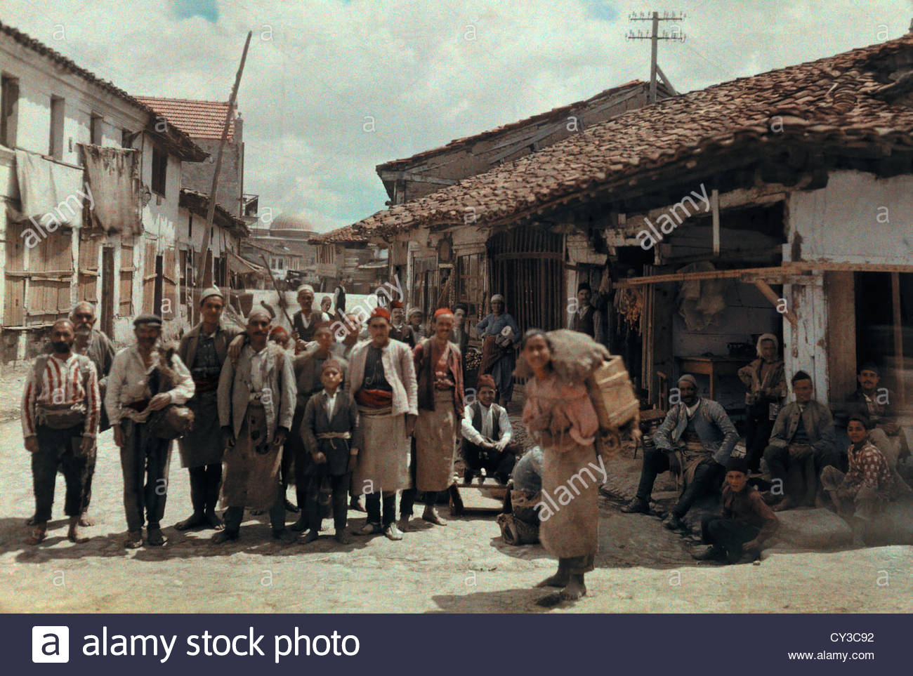 Villagers photographed in the streets of Skopje. - Stock Image