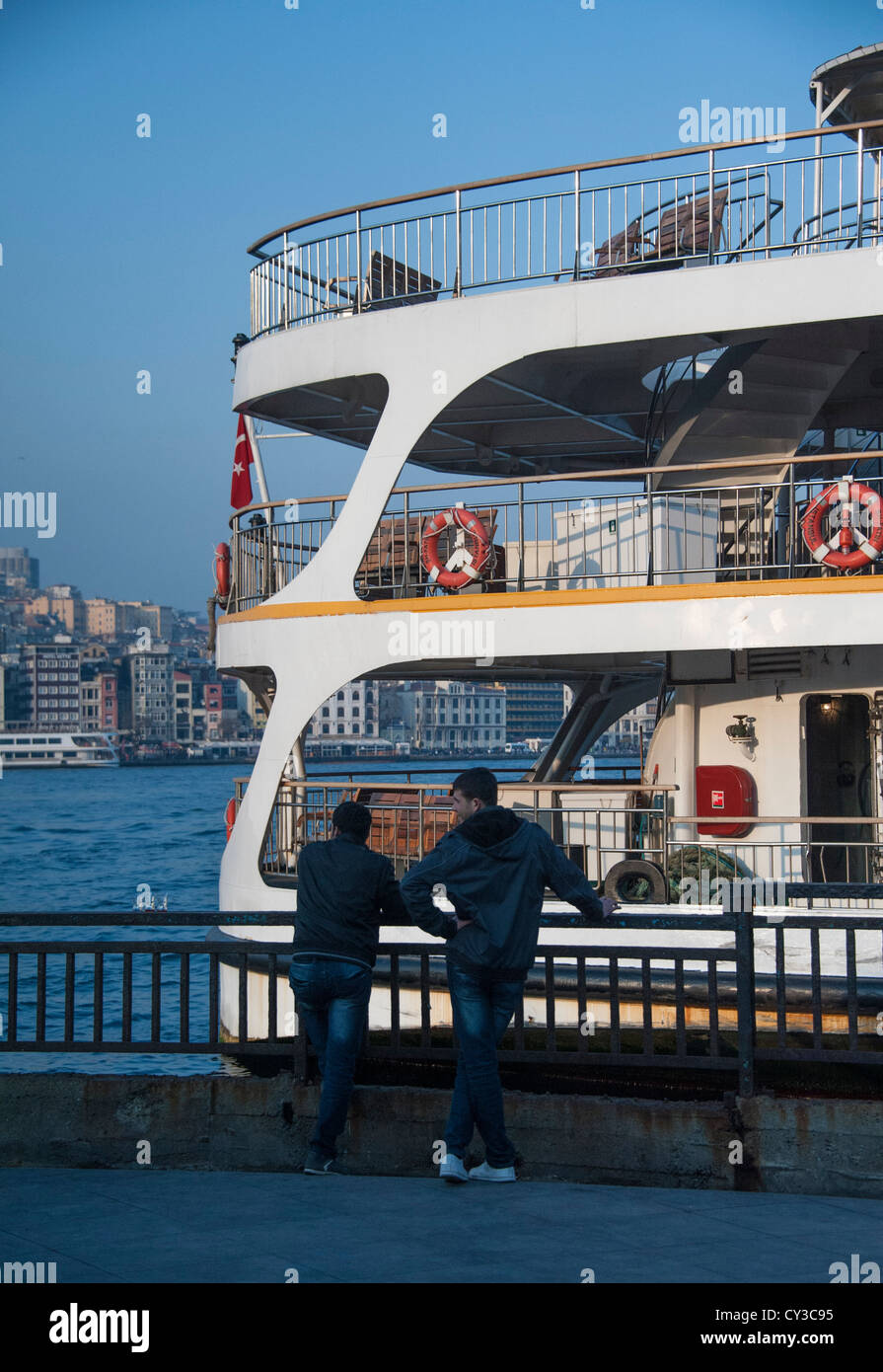 Ferry at the dock in Eminönü or Golden Horn part of Istanbul Turkey - Stock Image