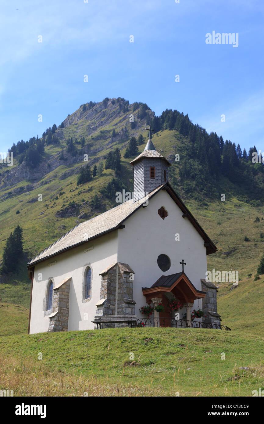 The Refuge de Graydon, a small Chapel in the Alpine village of Graydon in the Haute Savoie region of France - Stock Image