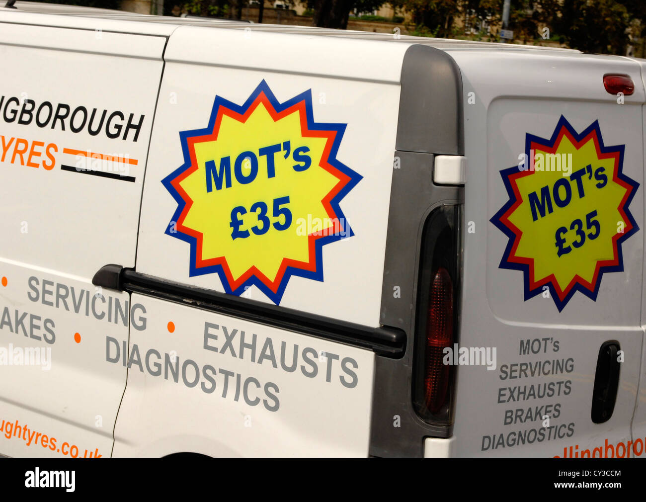 MOT sign on a commercial van - Stock Image