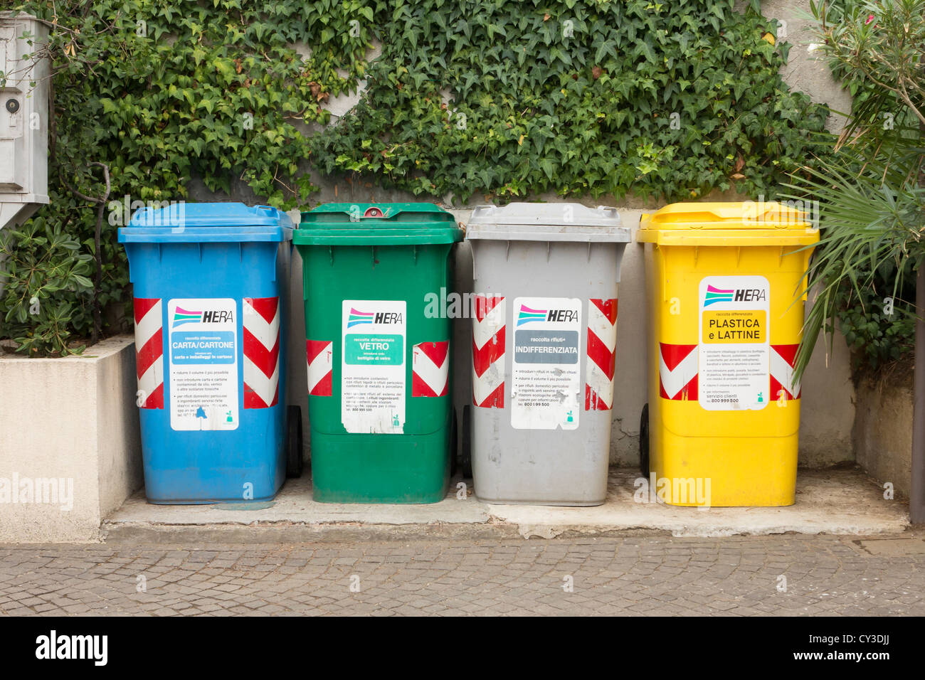 recycling bins in italy stock image