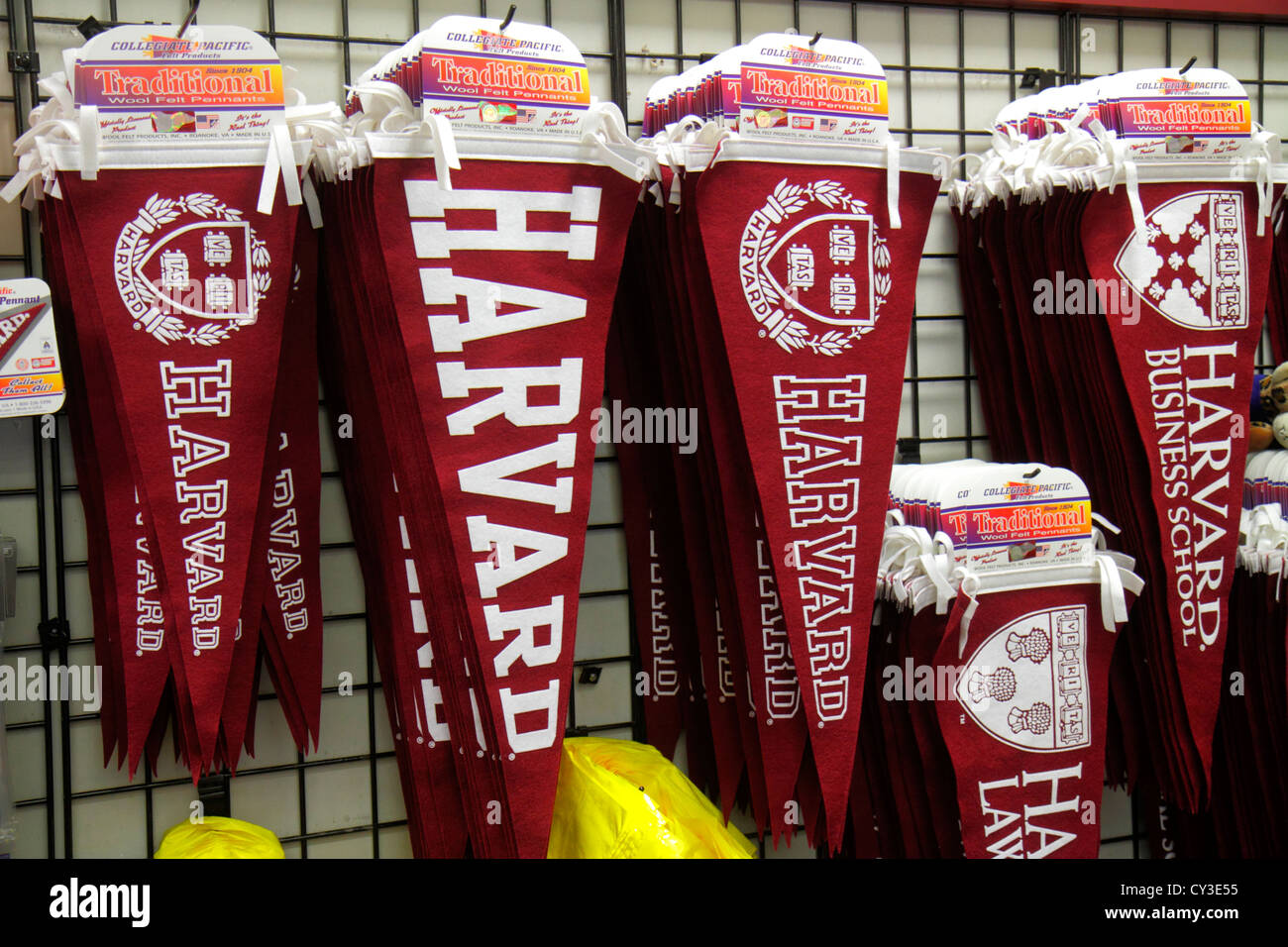 Boston Massachusetts Cambridge Harvard Square flags banners for sale souvenir - Stock Image