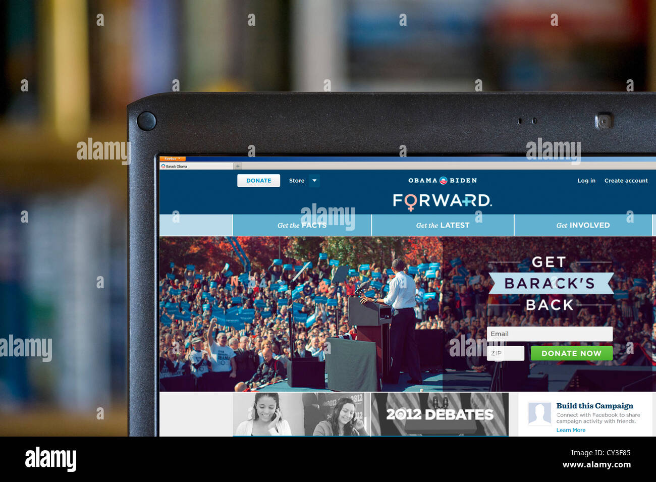 US Democratic President Barack Obama's website for the 2012 presidential election, USA Stock Photo