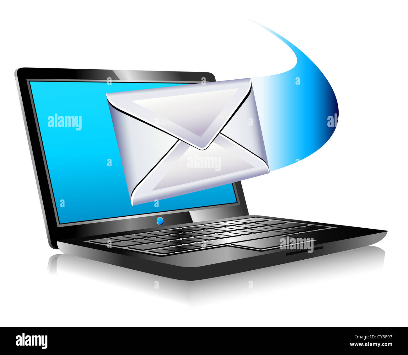email mailing the world SMS Laptop - email sent and arriving from a laptop - Mailing the world internet connection - Stock Image