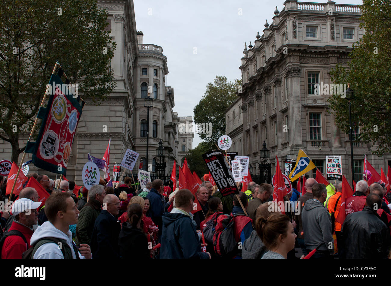 TUC March -- 20 October 2012 -- Protesters marched past Downing Street on their way to Hyde Park, London. - Stock Image