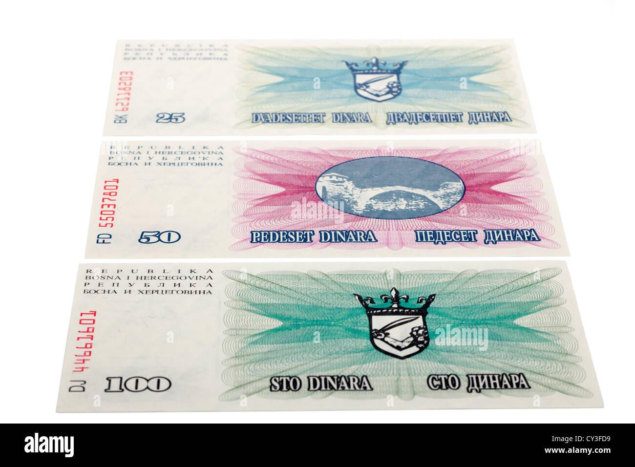 Bosnia Herzegovina 25 50 100 Dinara banknotes - Stock Image