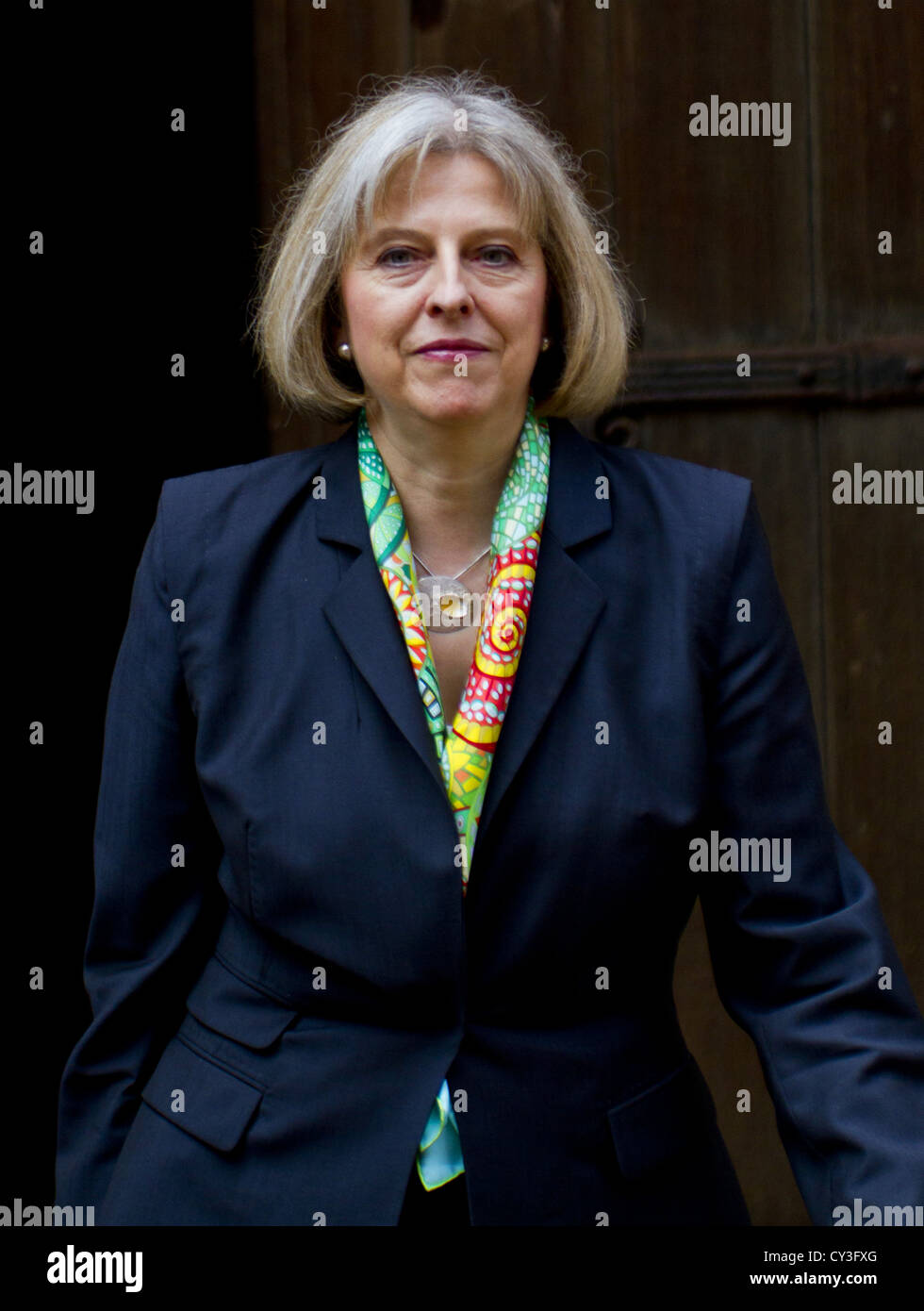 London, UK. 29th 2012. (Pictured) Home Secretary Theresa May arrives at the Leveson Inquiry at the Royal Court of - Stock Image