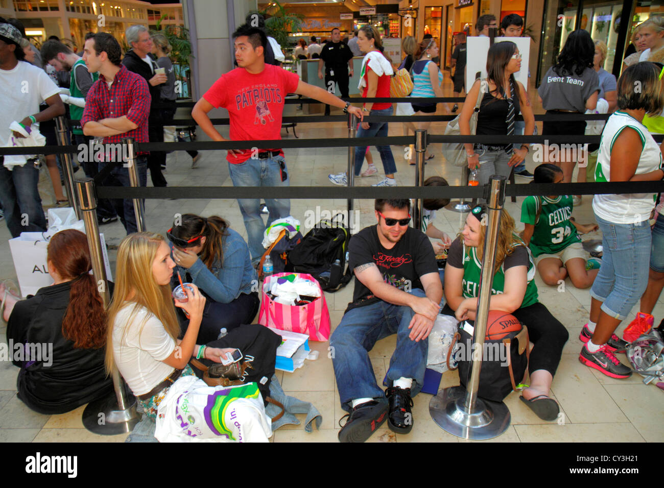 Boston Massachusetts Boylston Street Shops at Prudential Center shopping line queue teen man woman sports celebrity - Stock Image