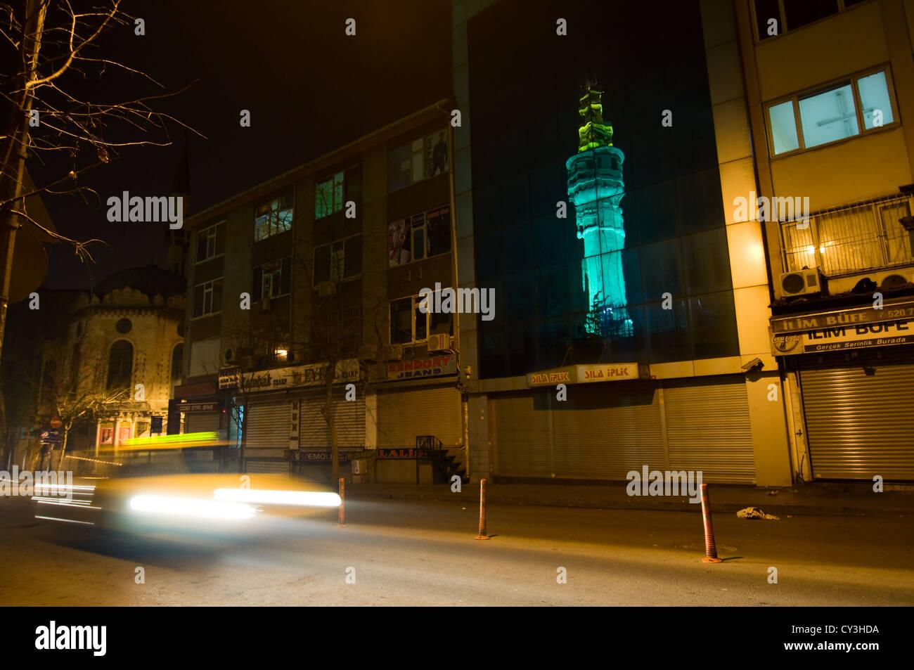 Taxi at Fuat Paşa Caddesi (Istanbul) at night Stock Photo