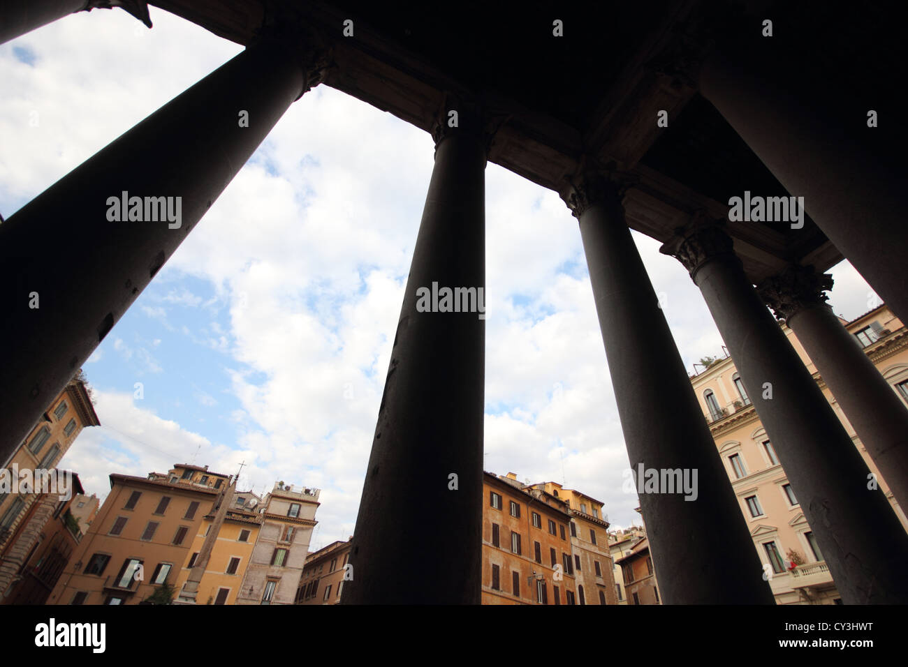 a wideangle shot of the columns of the beautiful Pantheon, Historical, Italy, travel, Roma, Rome, photoarkive - Stock Image
