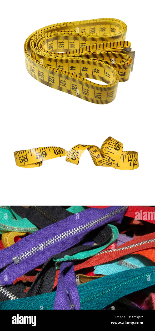 Close-up Views of Yellow Tape Measures and Zippers - Stock Image