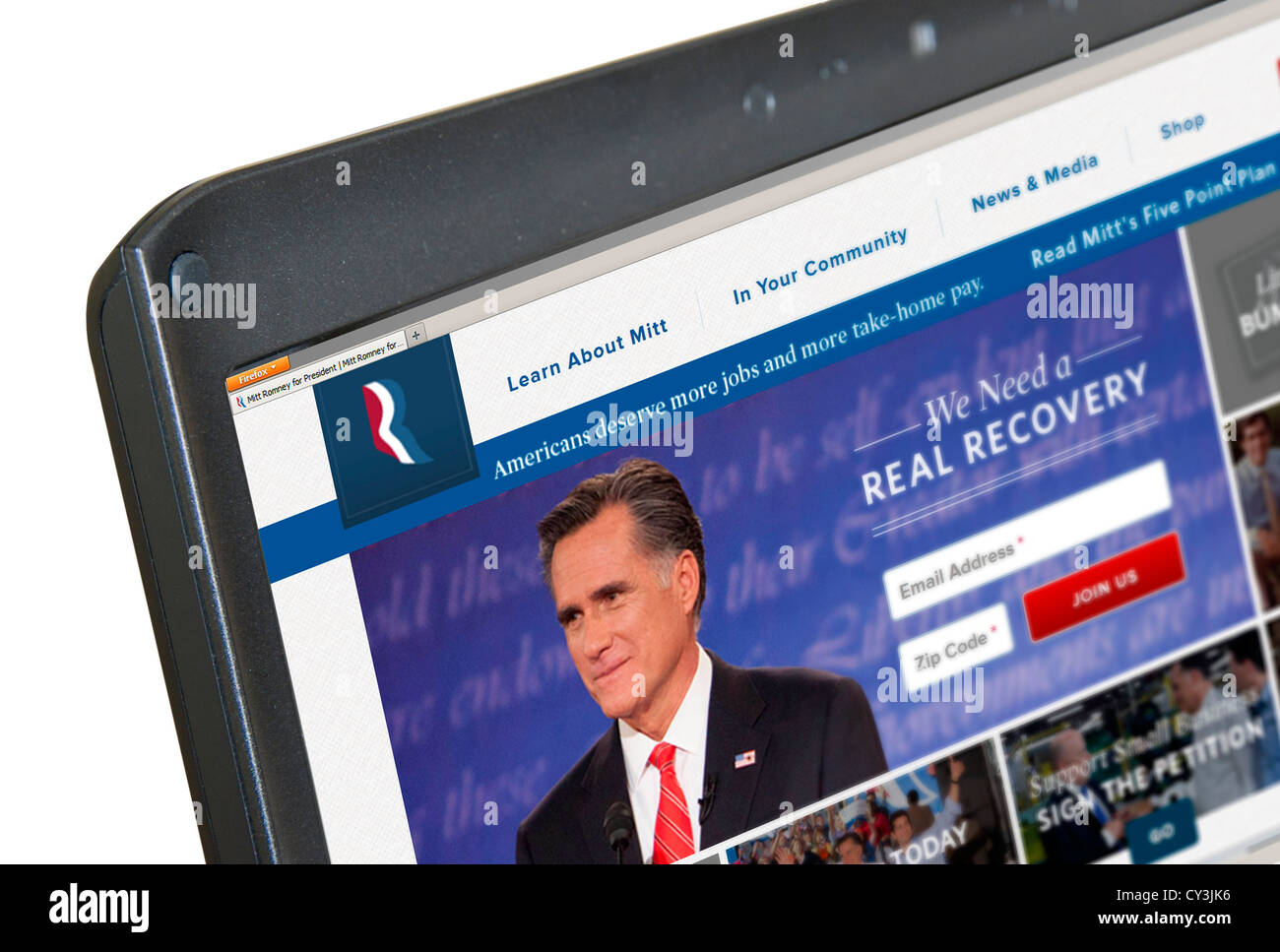 US Republican presidential candidate Mitt Romney's 2012 election website, USA - Stock Image