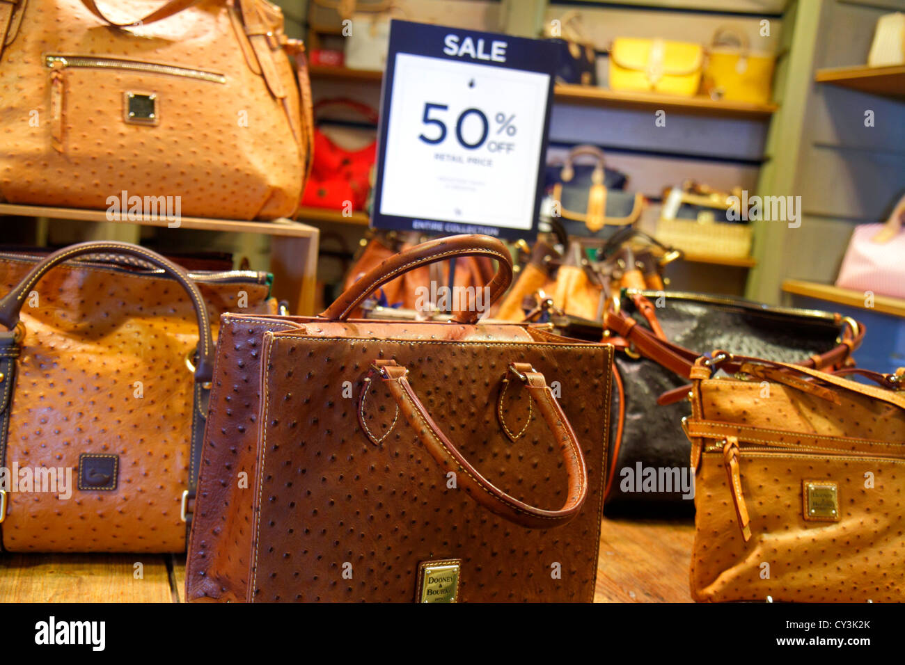 Maine Freeport outlet factory stores Dooney & and Bourke women's handbags leather goods retail display for - Stock Image