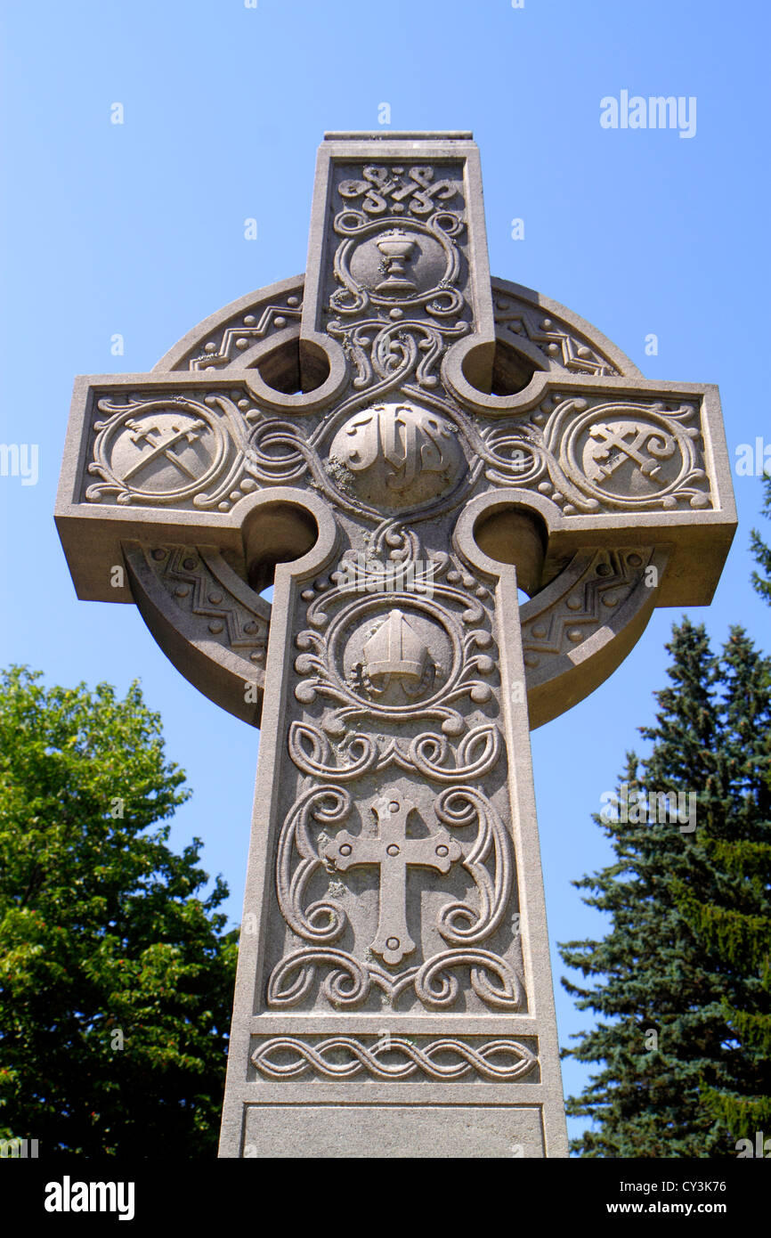 Maine South Portland Calvary Cemetery Roman Catholic Diocese of Portland cross symbol religion Christian - Stock Image