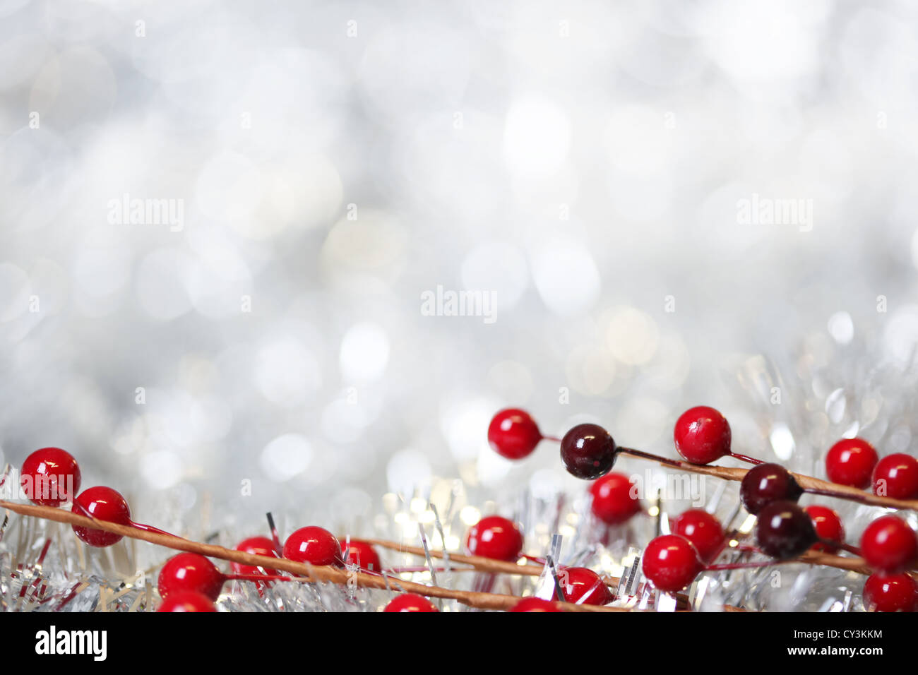 Silver Christmas background - Stock Image