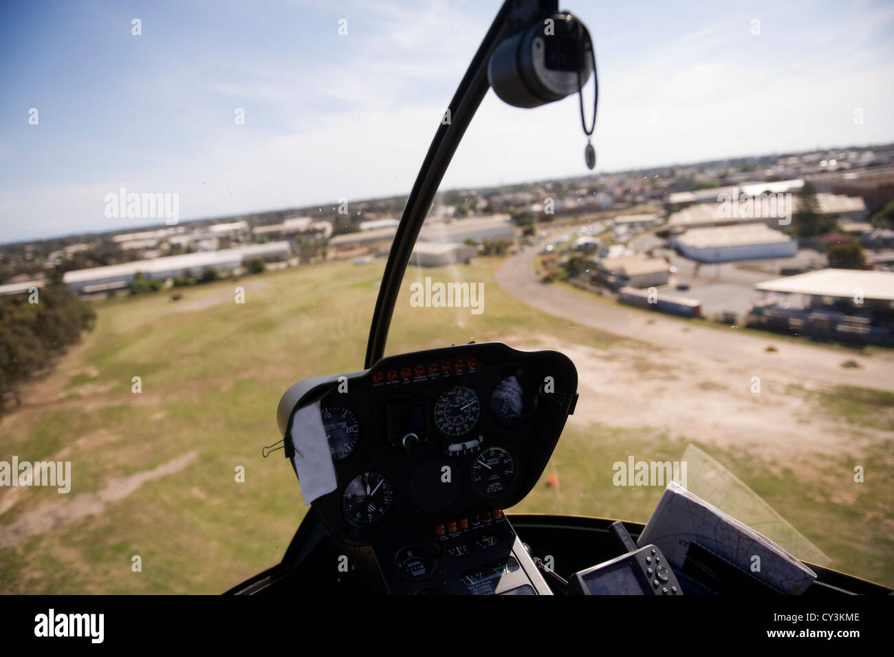 View from a helicopter cockpit - Stock Image
