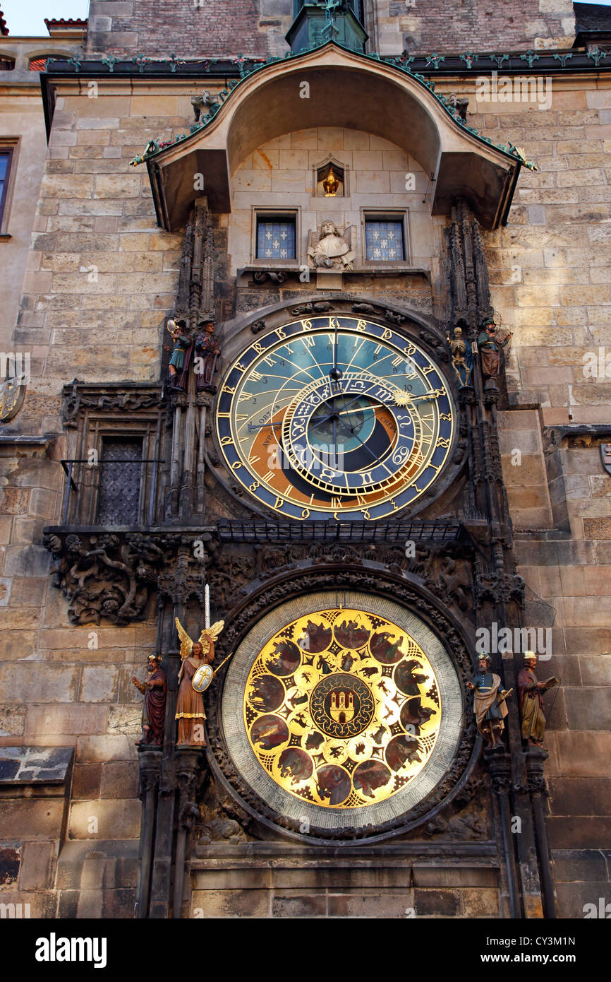 Orloj or Astronomical Clock on the Old Town City Hall in Old Town Square in Prague, Czech Republic - Stock Image