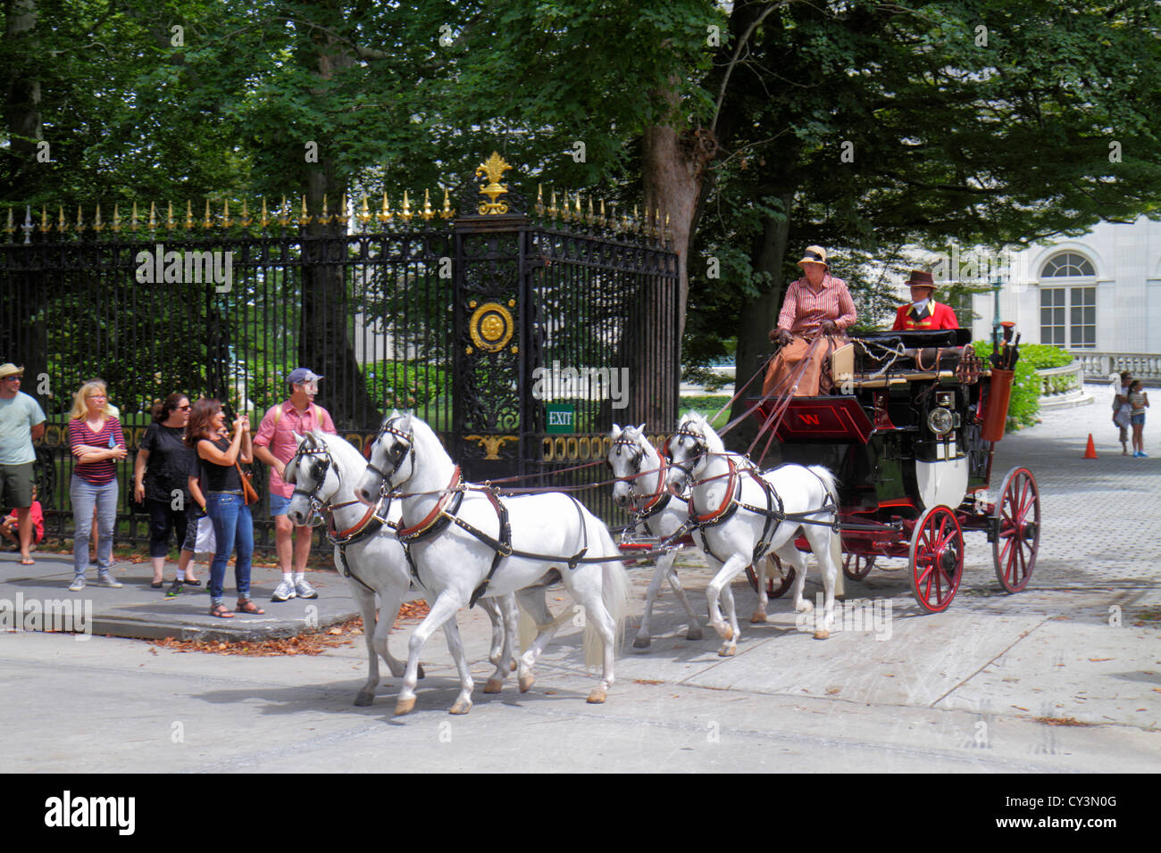 Rhode Island Newport Bellevue Avenue Coaching Weekend 19th-century carriages Marble House 1892 Gilded Age mansions - Stock Image