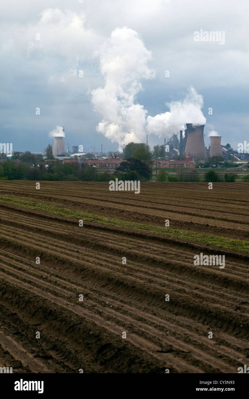 The skyline of Scunthorpe dominated by the Tata steelworks in the centre of the town. Scunthorpe, UK. - Stock Image