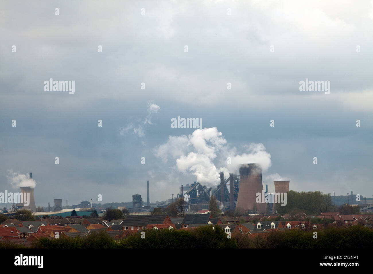 The skyline of Scunthorpe dominated by the Queen Anne and Victoria blast furnaces at the Tata steelworks Scunthorpe, - Stock Image