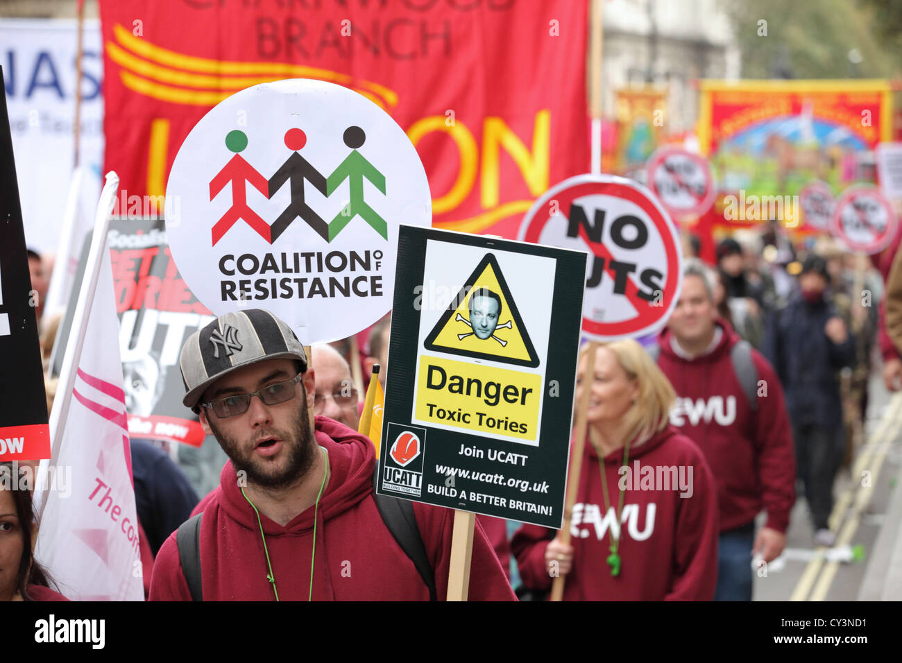 A Future That Works - TUC CWU march, central London. Anti-Cuts anti austerity mass protest movement against government - Stock Image