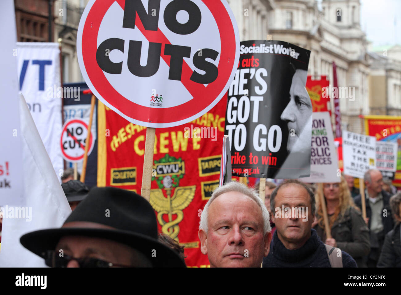 Large number mass demonstration protest march Piccadilly London. Anti-Cuts No Cuts anti-Cameron government, TUC - Stock Image