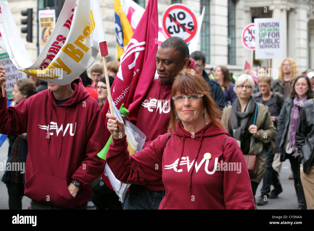 A Future That Works - TUC march & rally, central London. Anti-Cuts anti austerity mass protest movement - Stock Image