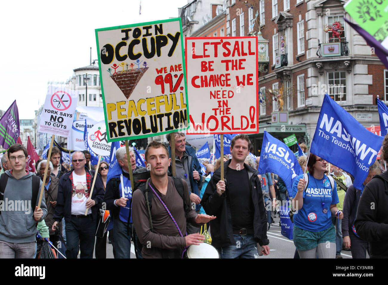 A Future That Works march Piccadilly London, Anti cuts, Anti Austerity pro Occupy movement. - Stock Image