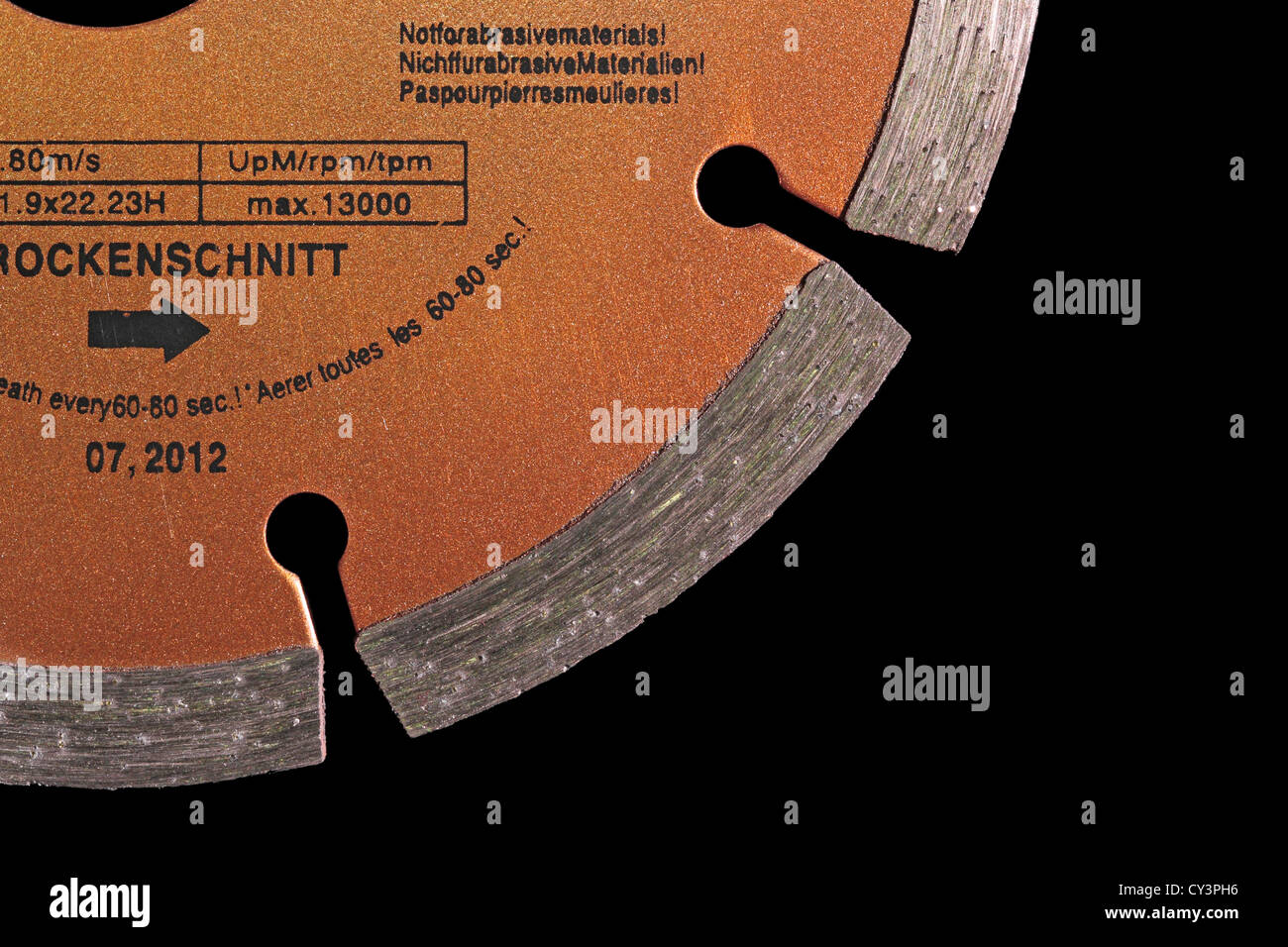 Diamond Grit Cutting Wheel - Cutting Disc - isolated on a black background - Stock Image