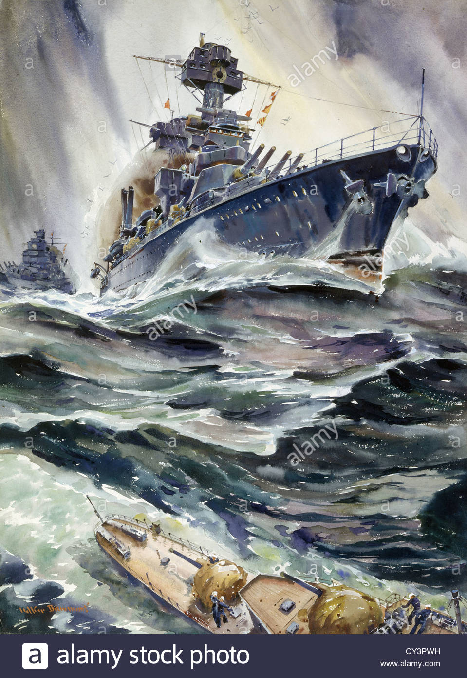 A painting of the U.S. battleships, Maryland and New Mexico. - Stock Image