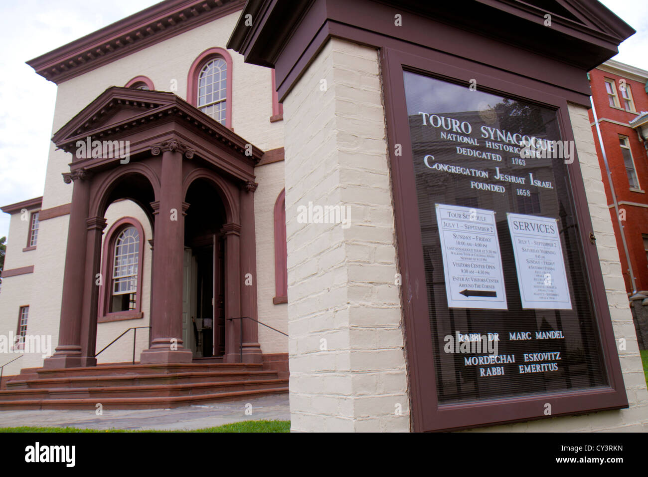 Rhode Island Newport Patriot's Park sign Touro Synagogue National Historic Site 1763 US oldest synagogue building - Stock Image