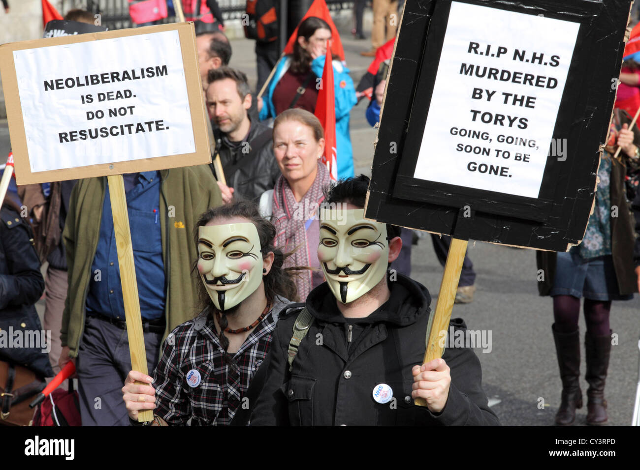 Anonymous marchers at A Future That Works - TUC march & rally, central London. Anti-Cuts anti austerity mass - Stock Image
